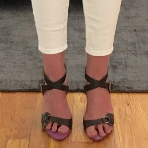 MOSCHINO BROWN LEATHER SANDALS SIZE 37